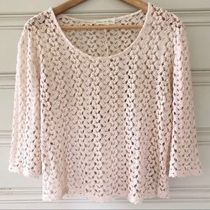 UO Staring At Stars XS Crochet Top Ivory Off White